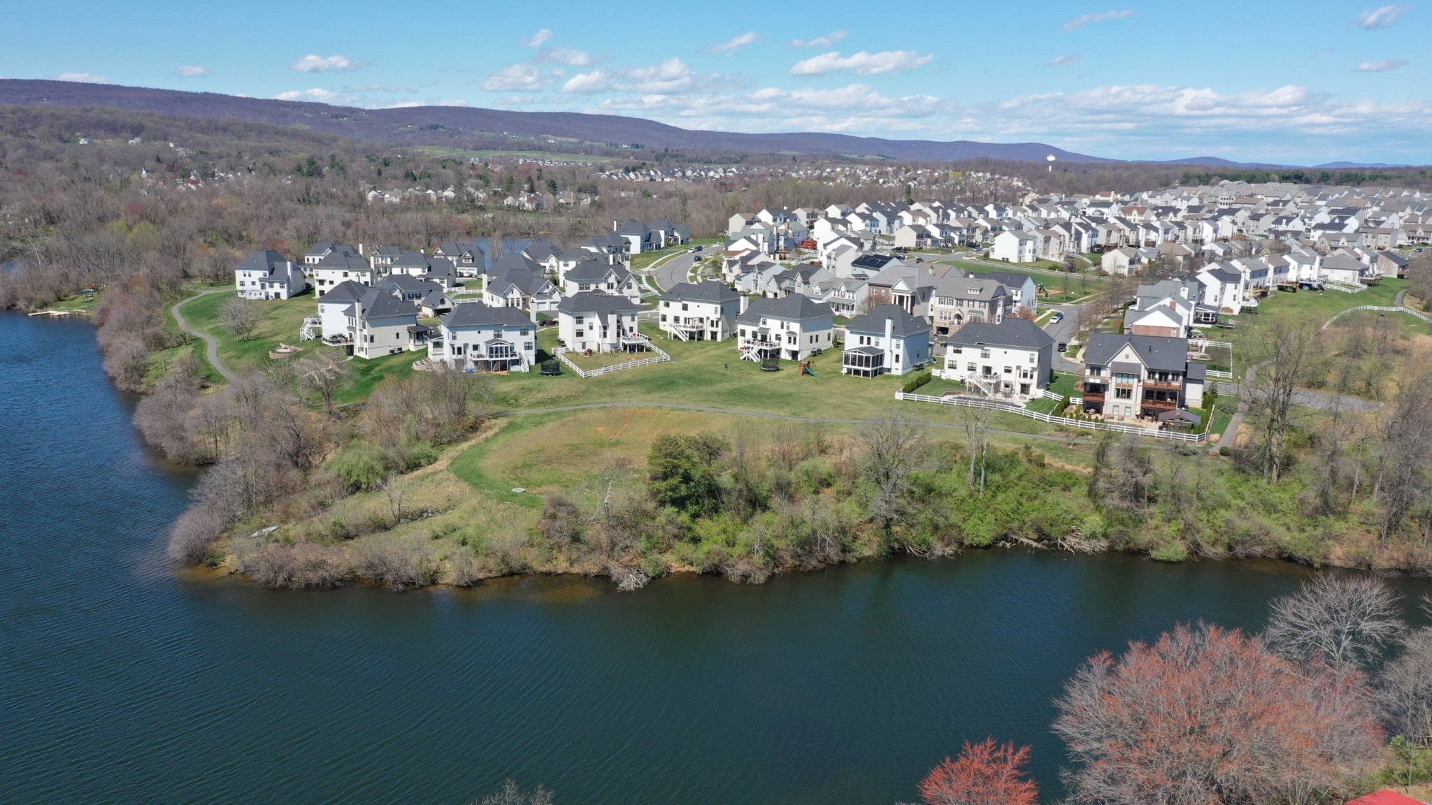 Aerial View of Sleeter Lake and Lakepoint in Round Hill Virginia