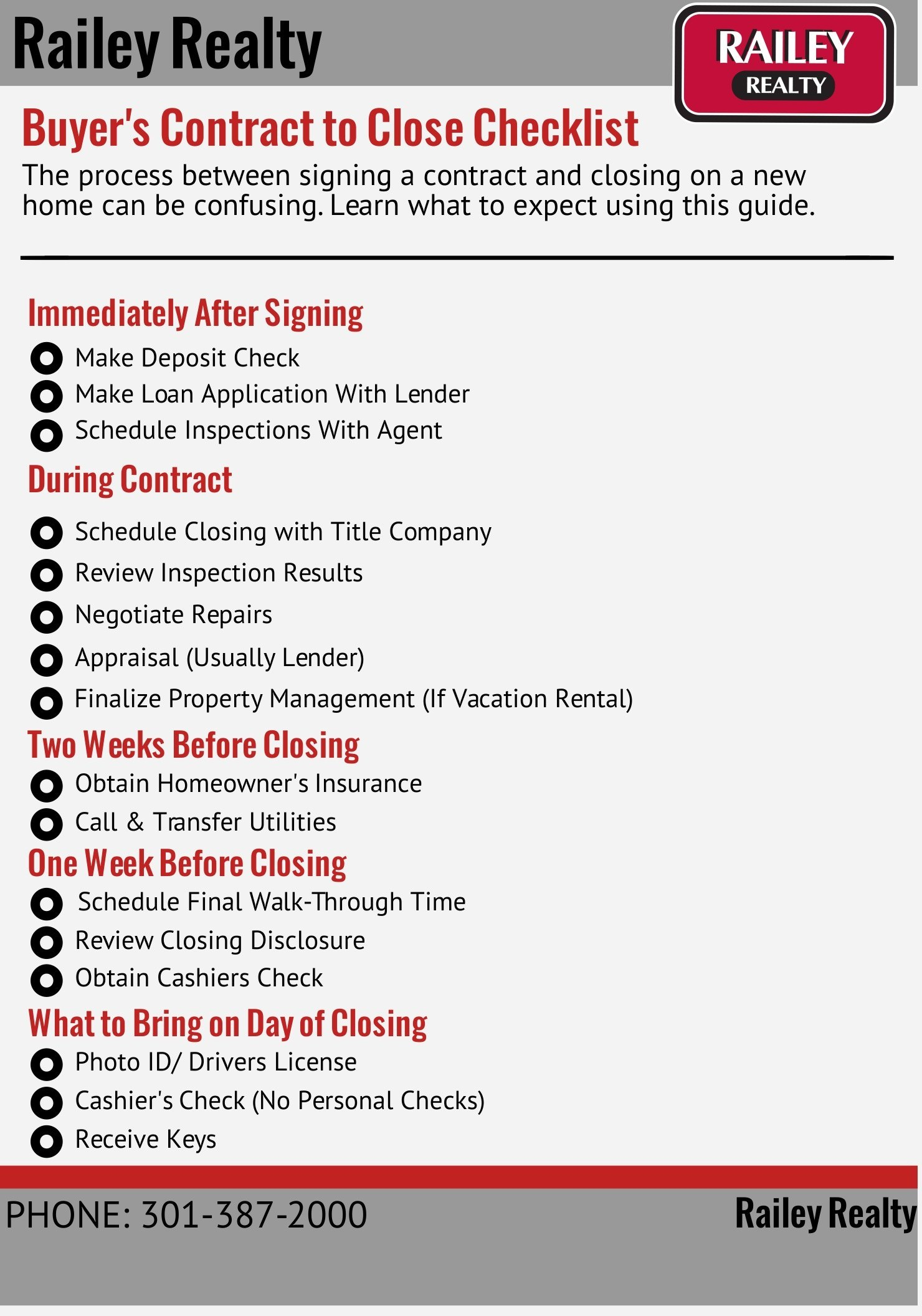 Railey Realty Buyers Contract to Close Checklist