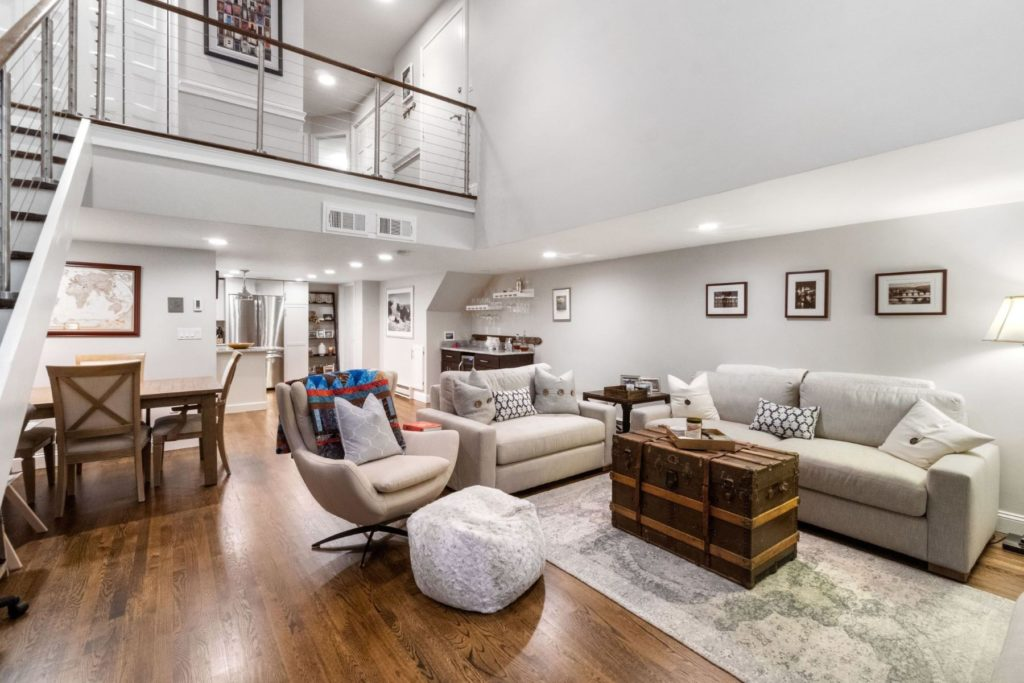 Living room with double height ceilings