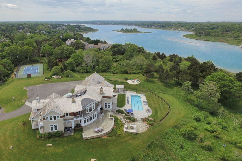 Aerial shot of waterfront home