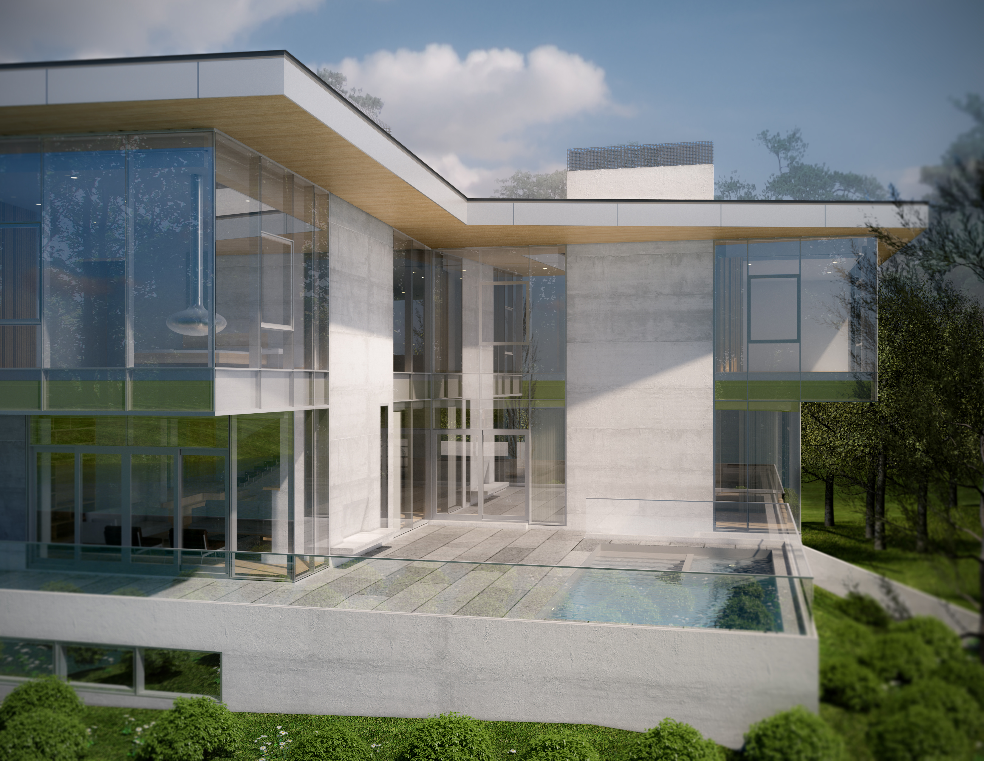 Rendering of pool and modern home