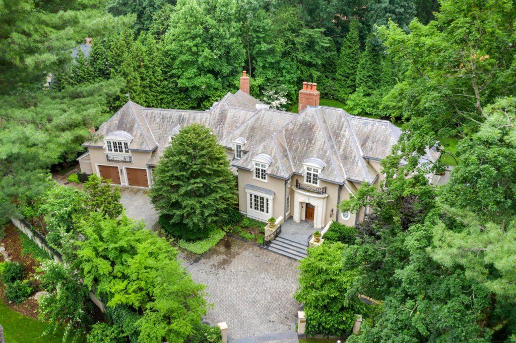 Aerial shot of luxury home