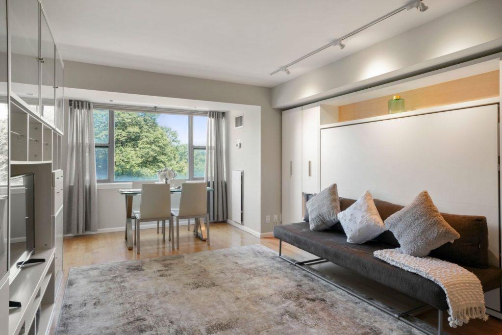 Luxurious living area overlooking city