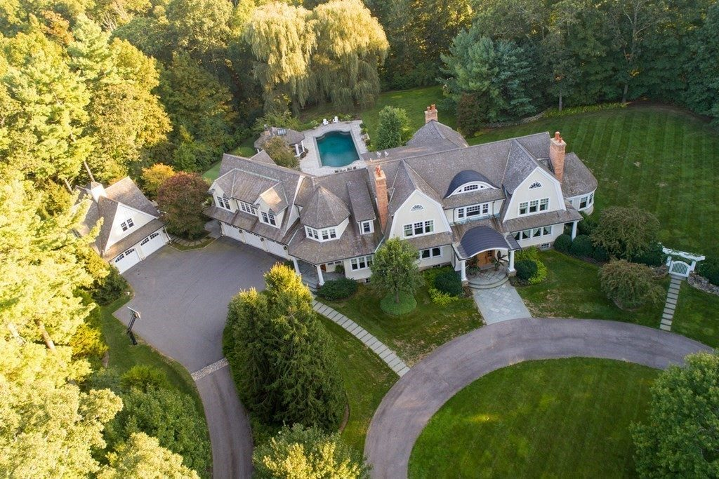 Aerial shot of suburban home