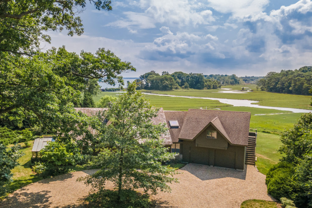 Aerial shot of home with tree views