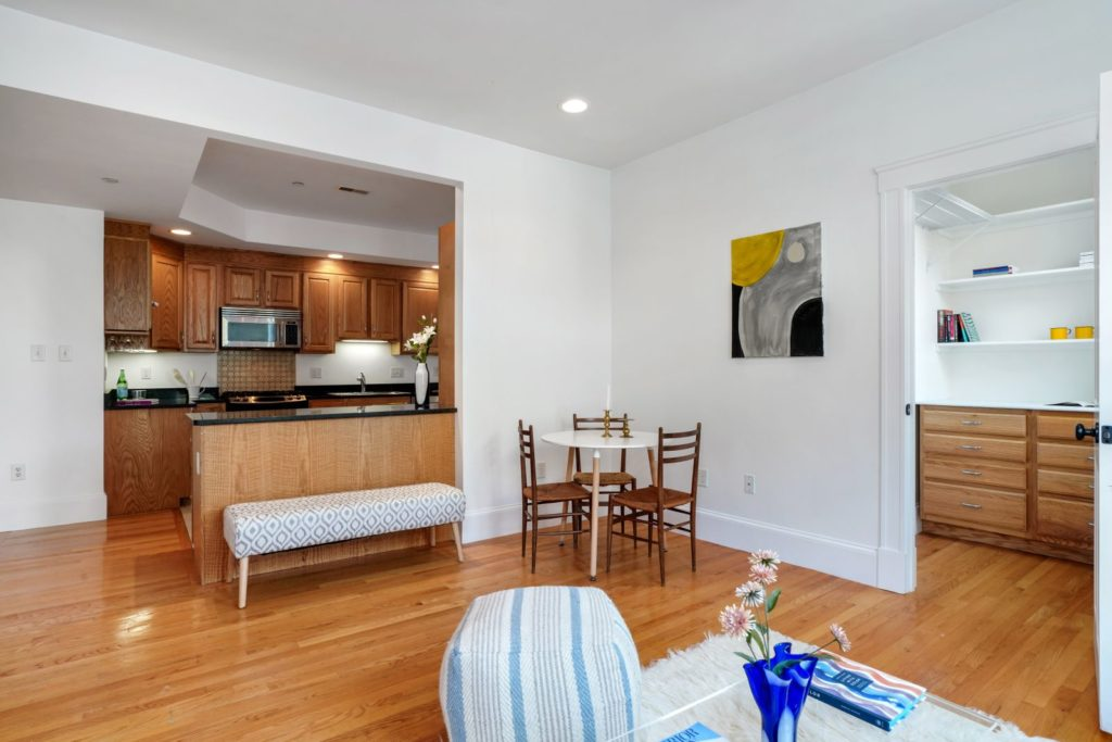 Light-filled kitchen and living area with open layout