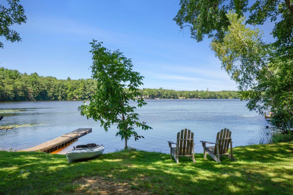 Deck chairs facing lake