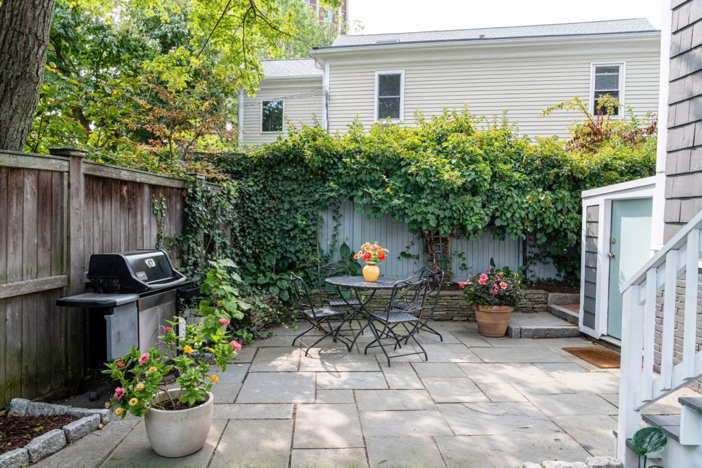 Back patio with landscaping