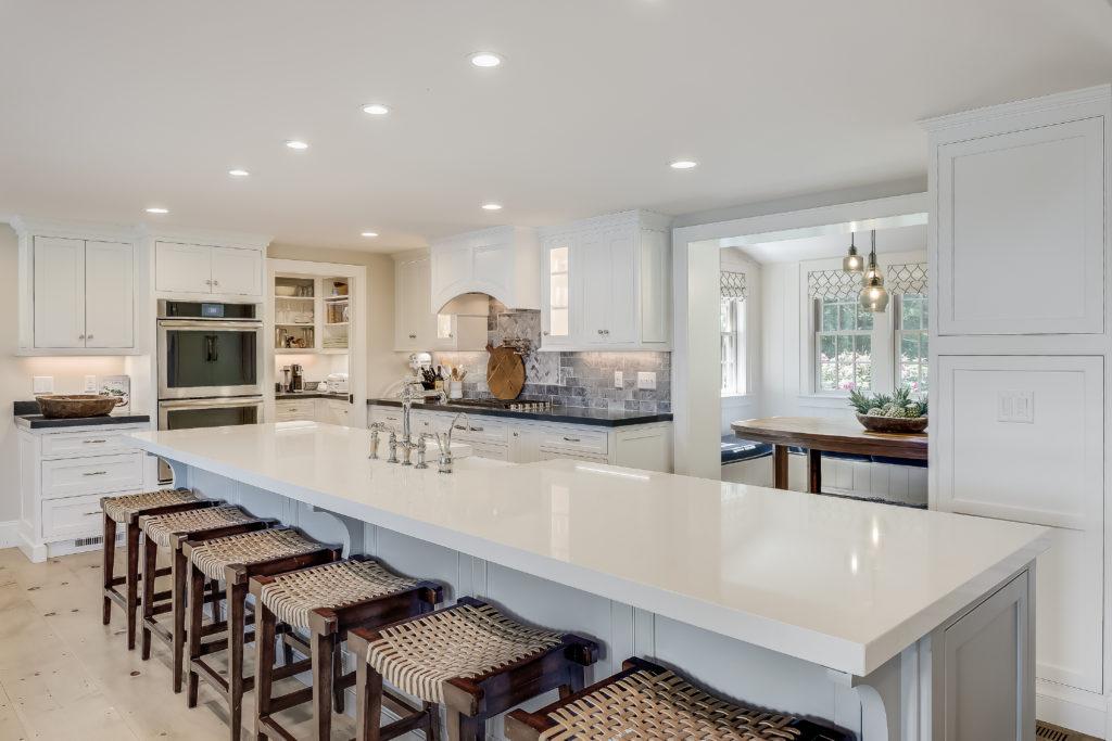 Cape Cod kitchen with white island