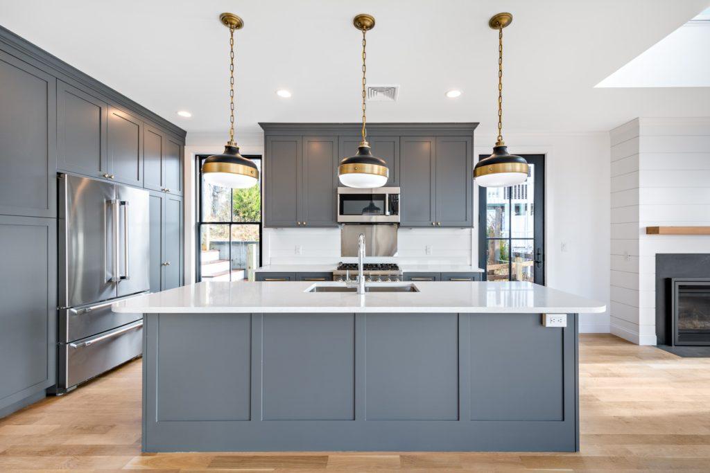 Sleek gray and white kitchen island