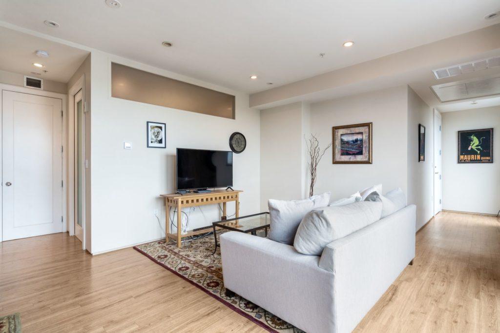 Bright white living area