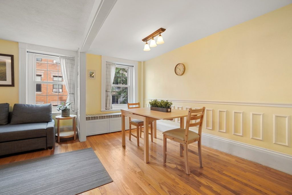 Yellow living and dining area