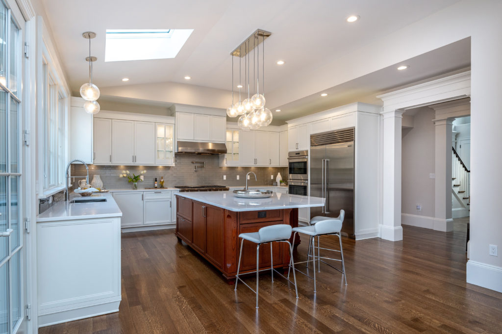 Large kitchen with large center island