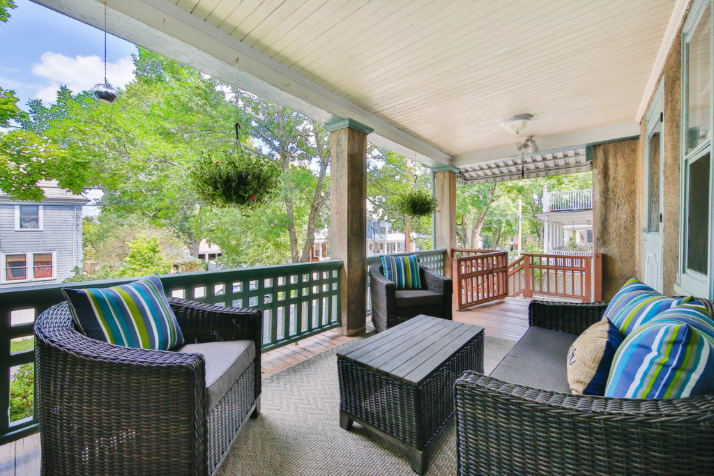 Front porch with tree views