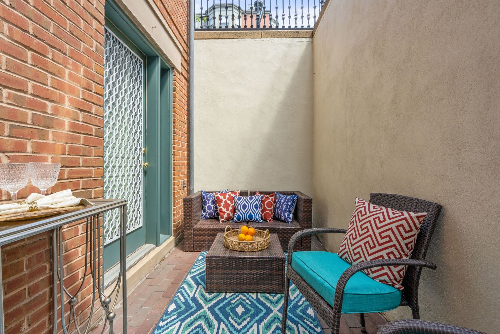 City patio with furniture