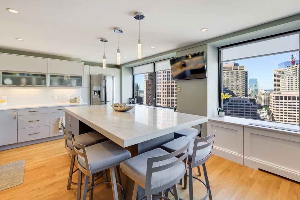 Large kitchen island with city views