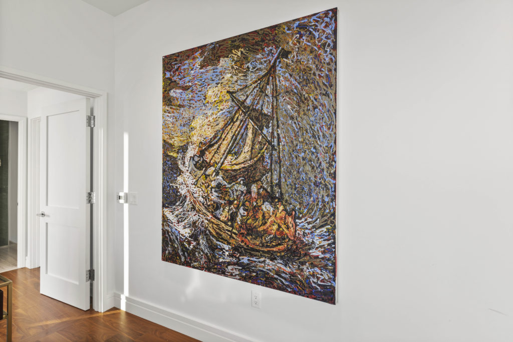 Luxury bedroom with wall art
