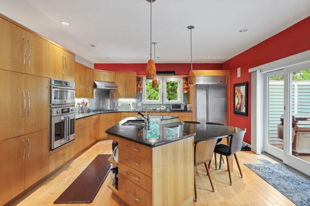 Stylish kitchen with circular island