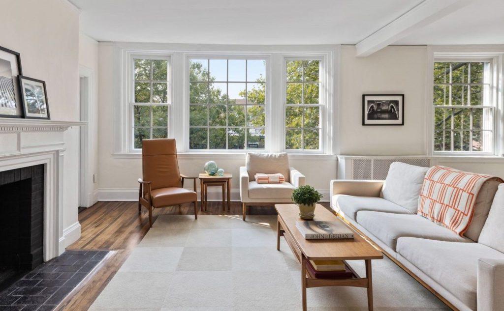 Luxury living room with treetop views