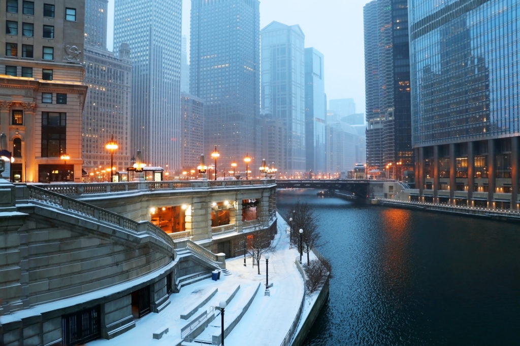 Beautiful Chicago during snowfall