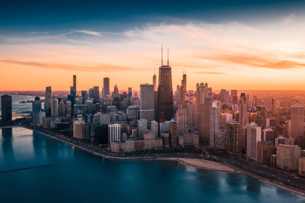 Dramatic Sunset - Downtown Chicago