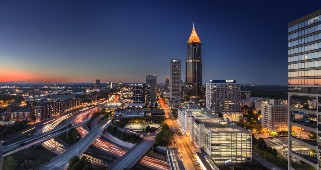 View of the Atlanta Skyline viewing North from the 12 Residences Hotel downtown.