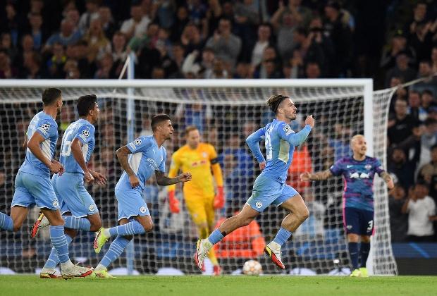 Manchester City celebrando en su primer partido de Champions / Foto AFP