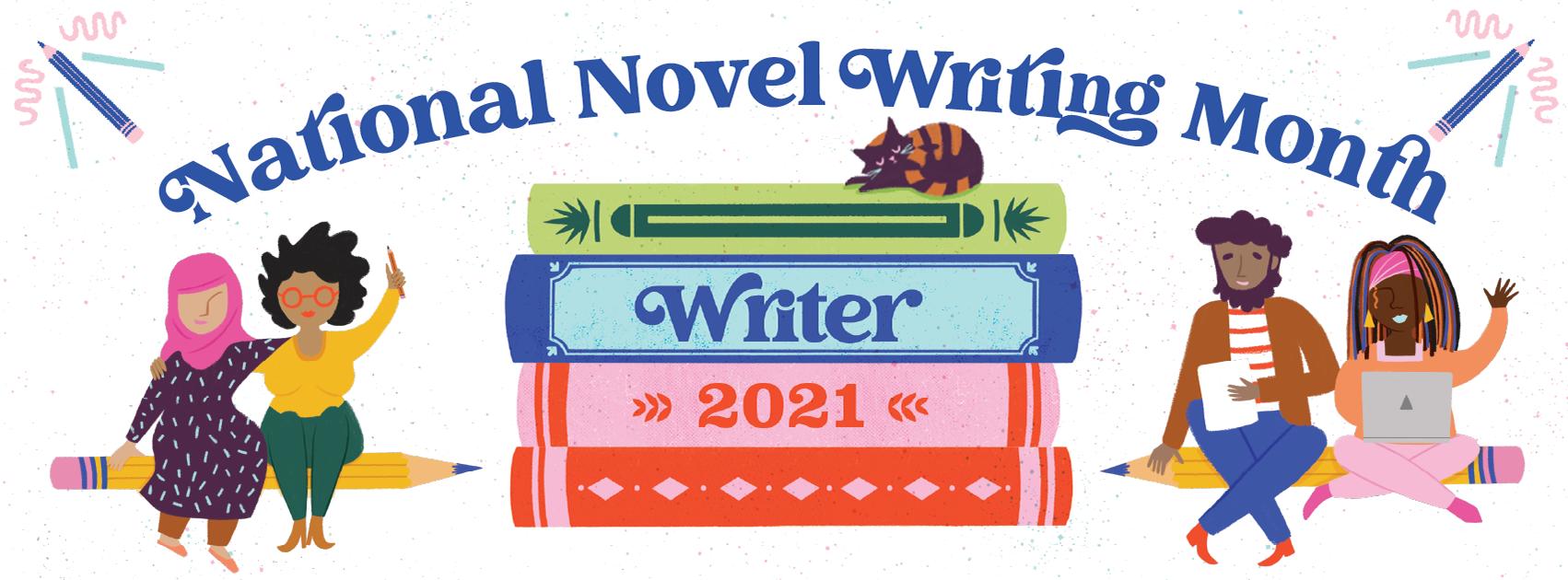 NaNoWrimo 2021 - Facebook Banner - Design by Andrea Floren