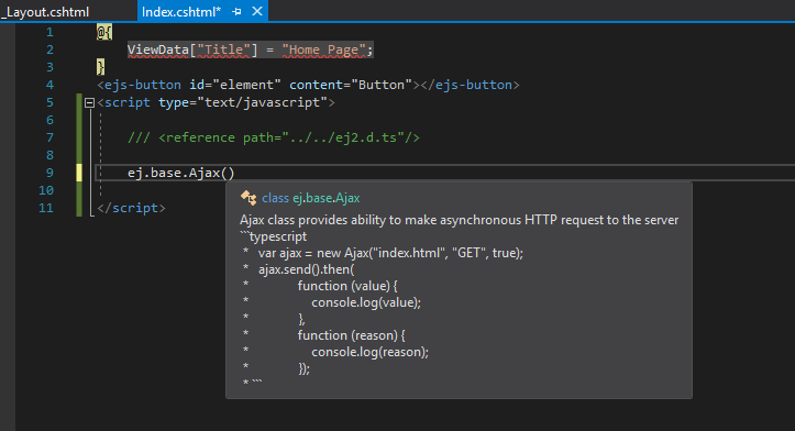 No intellisense when needed to use the javascript | ASP NET