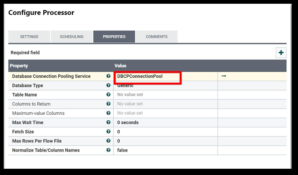 Processor Configuration Page