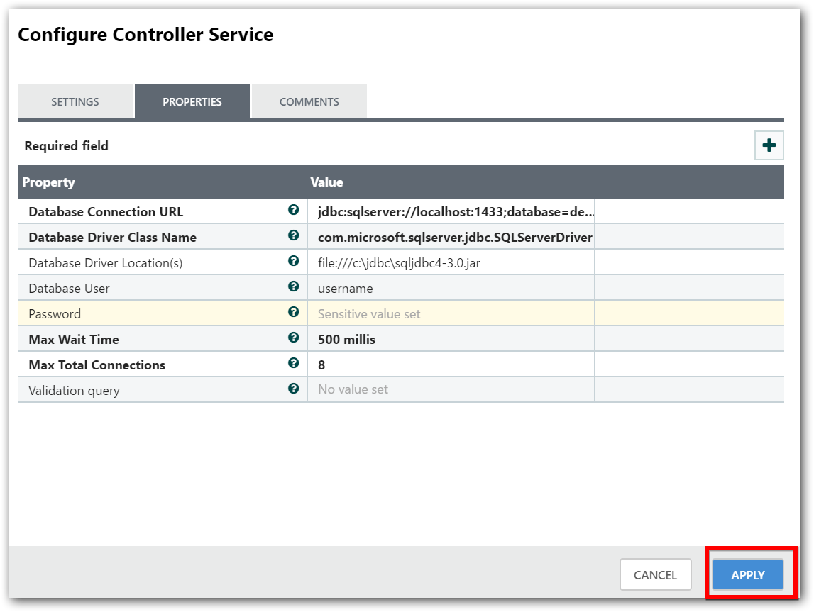 Controller Service Configuration Page