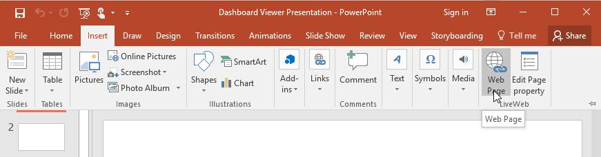 Click Webpage option in PowerPoint  Insert menu.