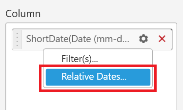 Click the settings option and find the Relative Dates option
