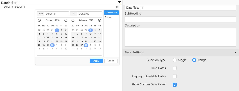 Current month data displayed in Datepicker