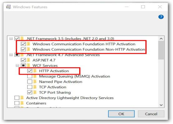 Enable the WCF features in IIS application