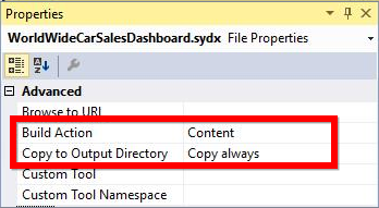 Attach the Dashboard file into the sample and mark the properties
