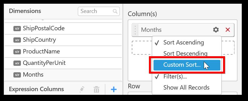 Click Custom sort option