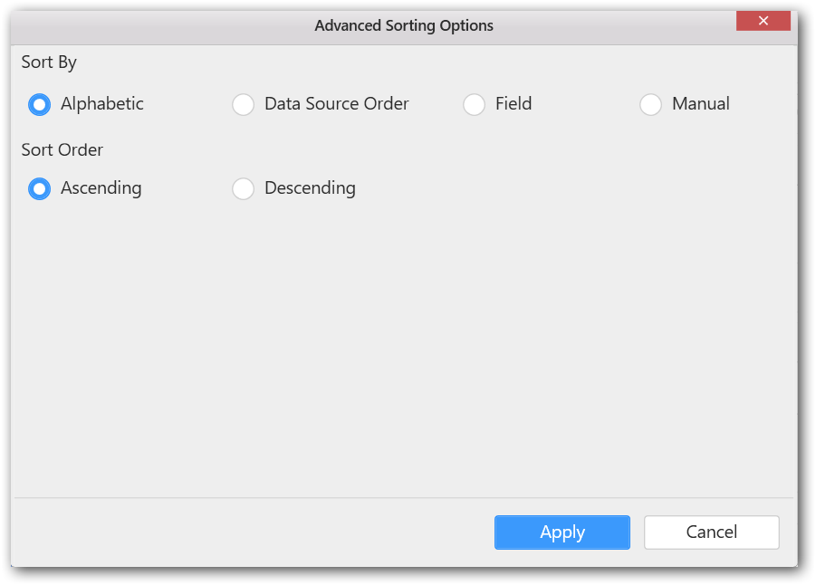 Advance sorting option window displayed
