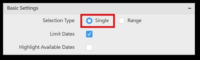 Selection Type set as Single
