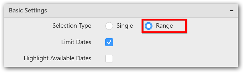 Selection Type set as Range