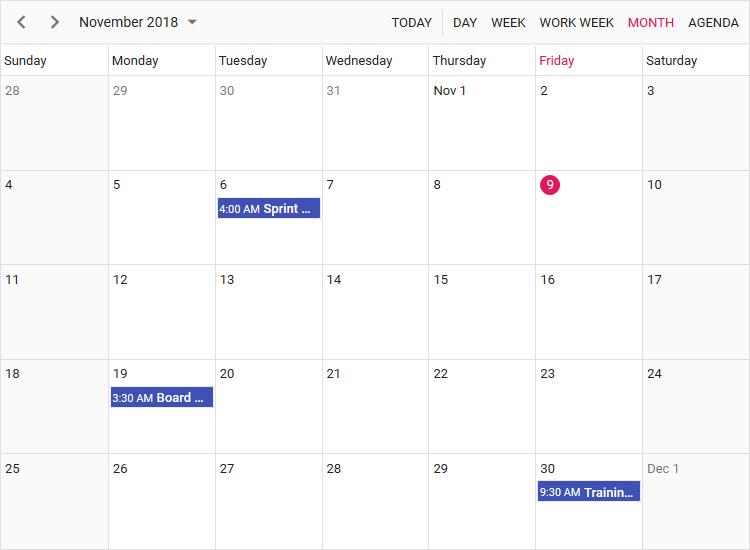 Angular 4 Scheduler displaying month view