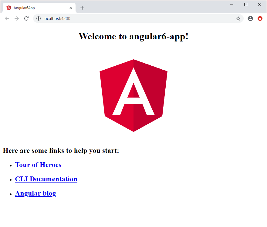 Angular welcome page