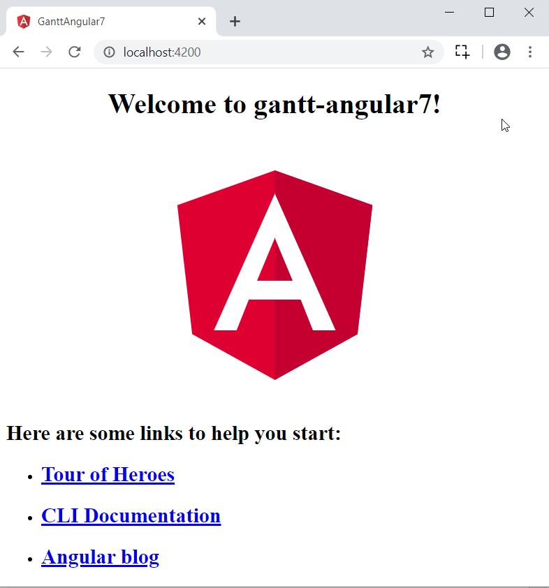 Gantt-angular 7 application in browser.
