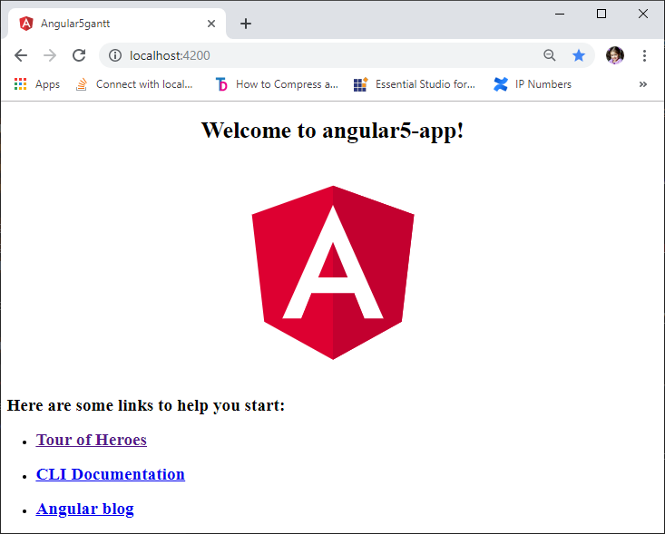 Angular application startup page to get start with Syncfusion Gantt control.