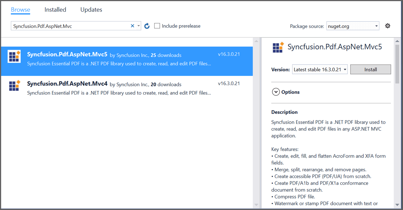 Install Syncfusion PDF ASP.NET MVC NuGet package