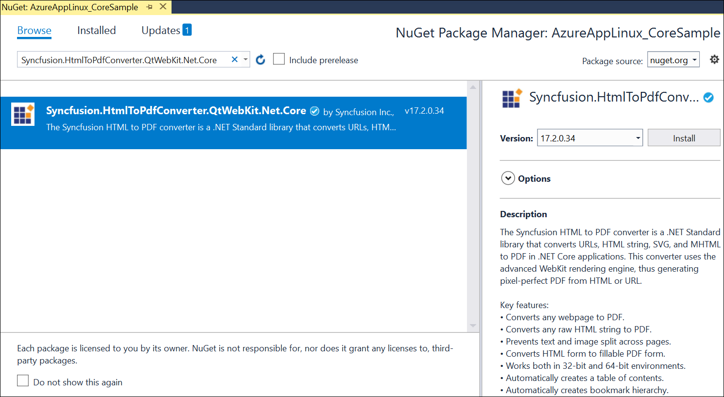 Install NET Core NuGet packages.
