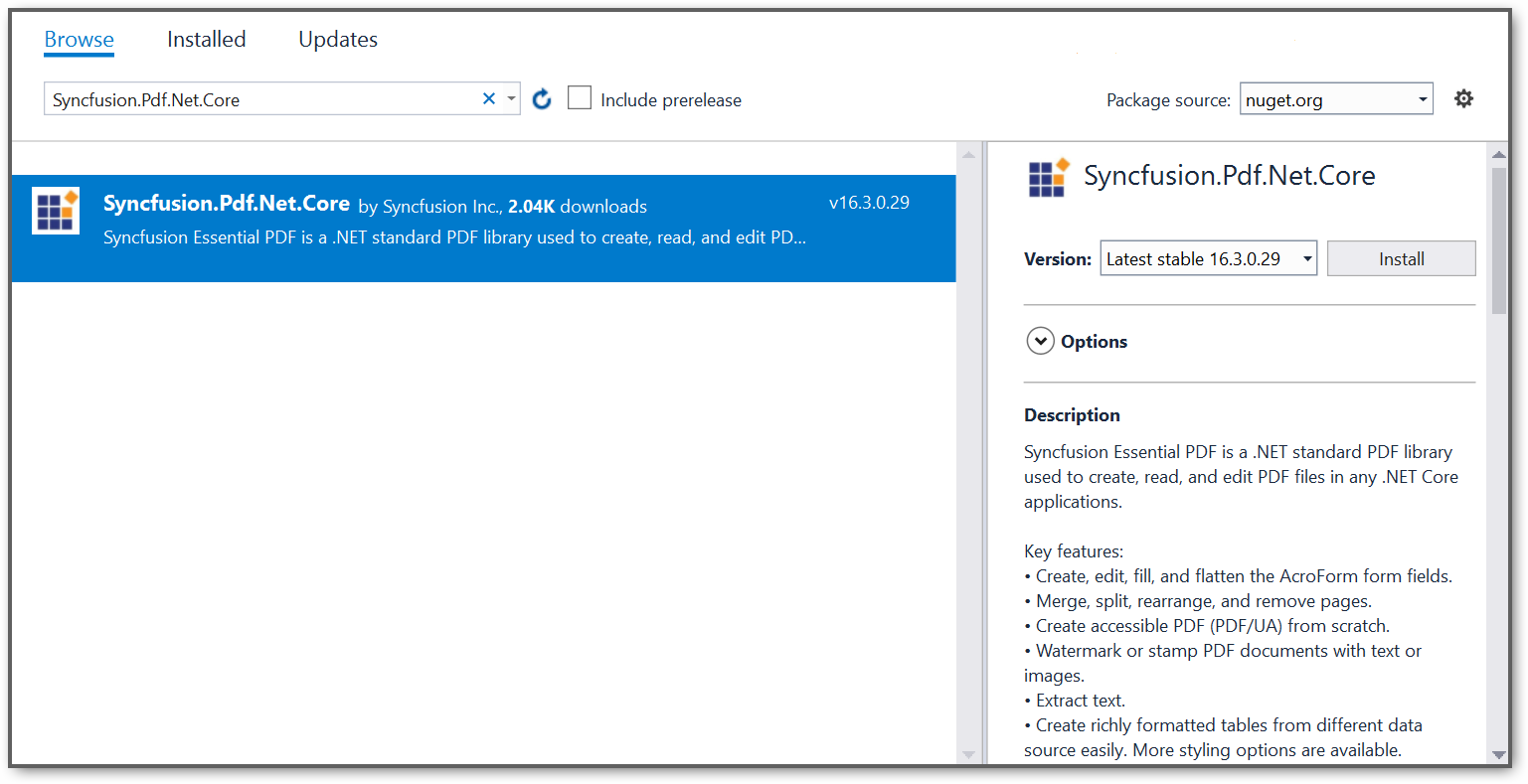 NuGet package reference screenshot