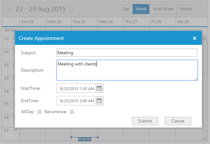 Custom appointment form displaying without any errors