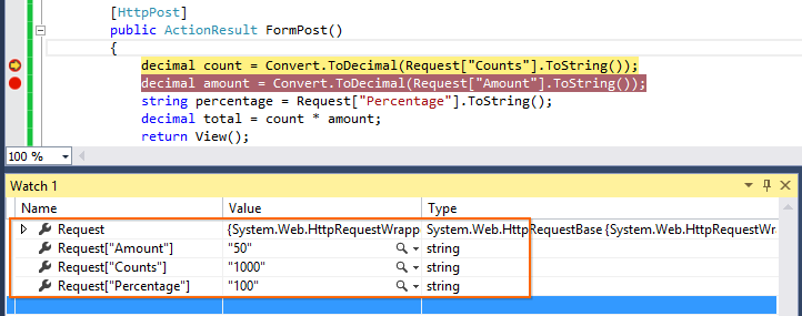 Post back value using Request object