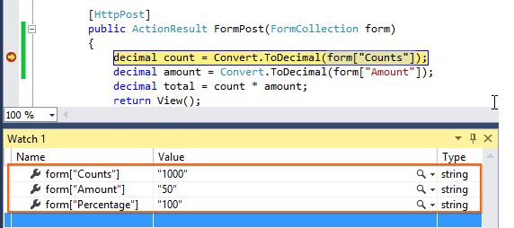 Post back value using the FormCollection object